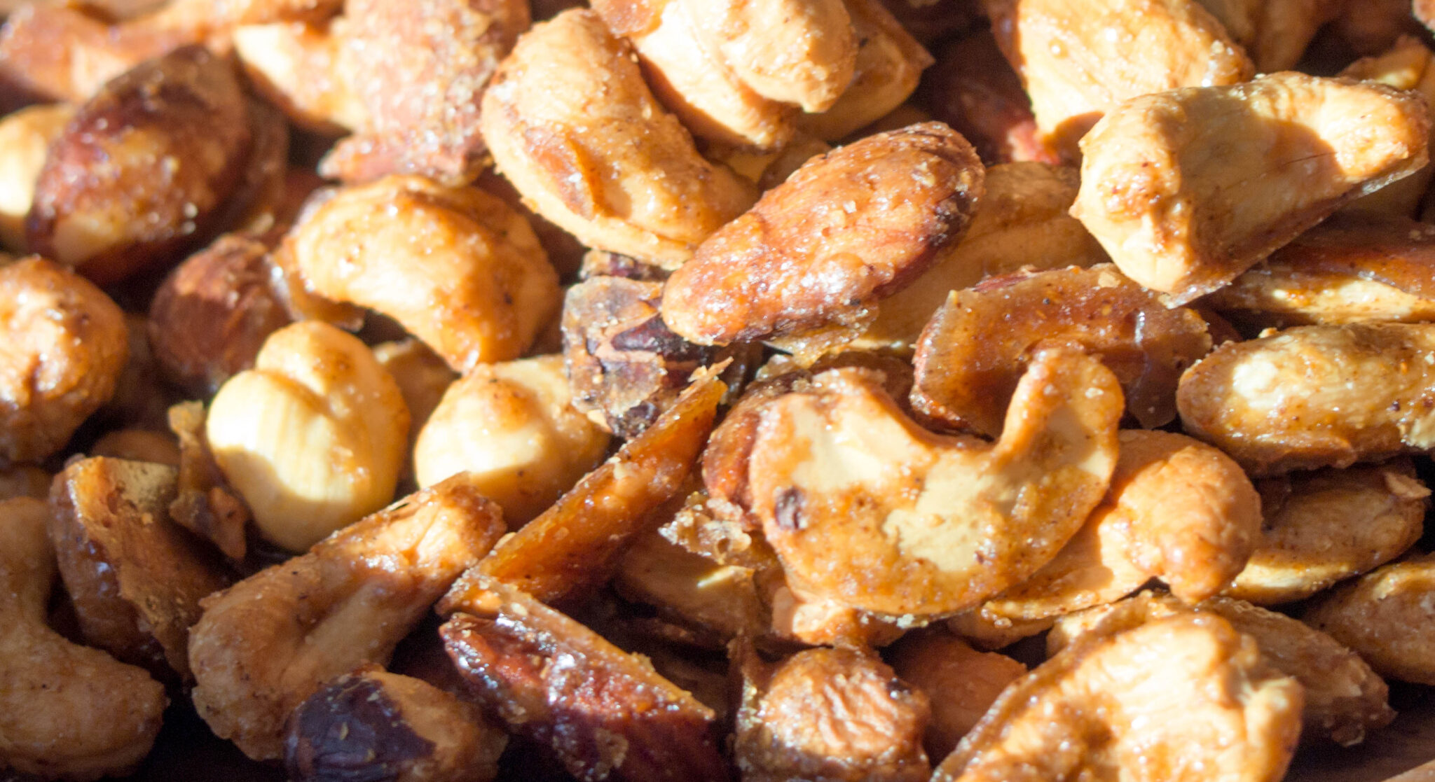 Sweet and Spicy Mixed Nuts on baking tray