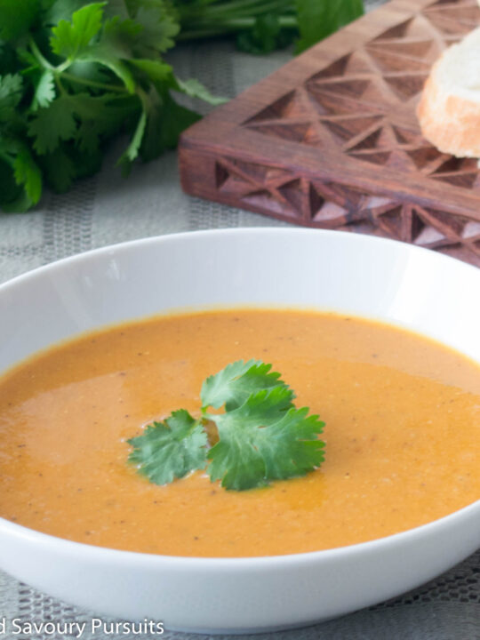 Close-up of a bowl of Red Lentil and Cauliflower Soup.
