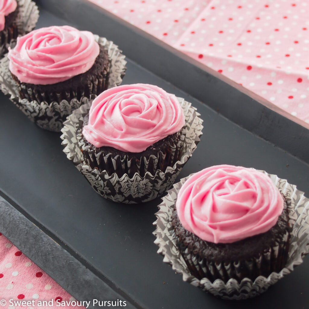 Chocolate Beet Cupcakes on tray.