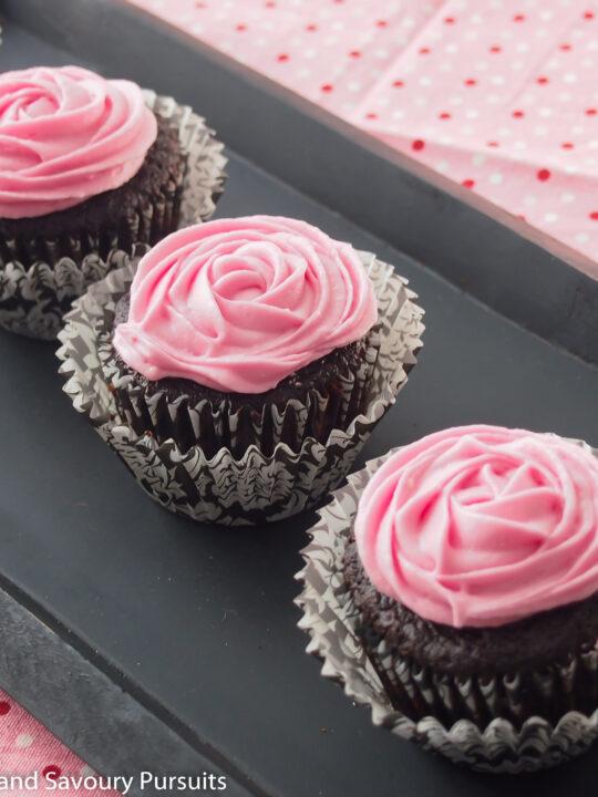 Chocolate Beet Cupcakes on tray.