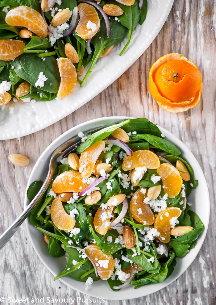 Top view of Spinach and Clementine Salad