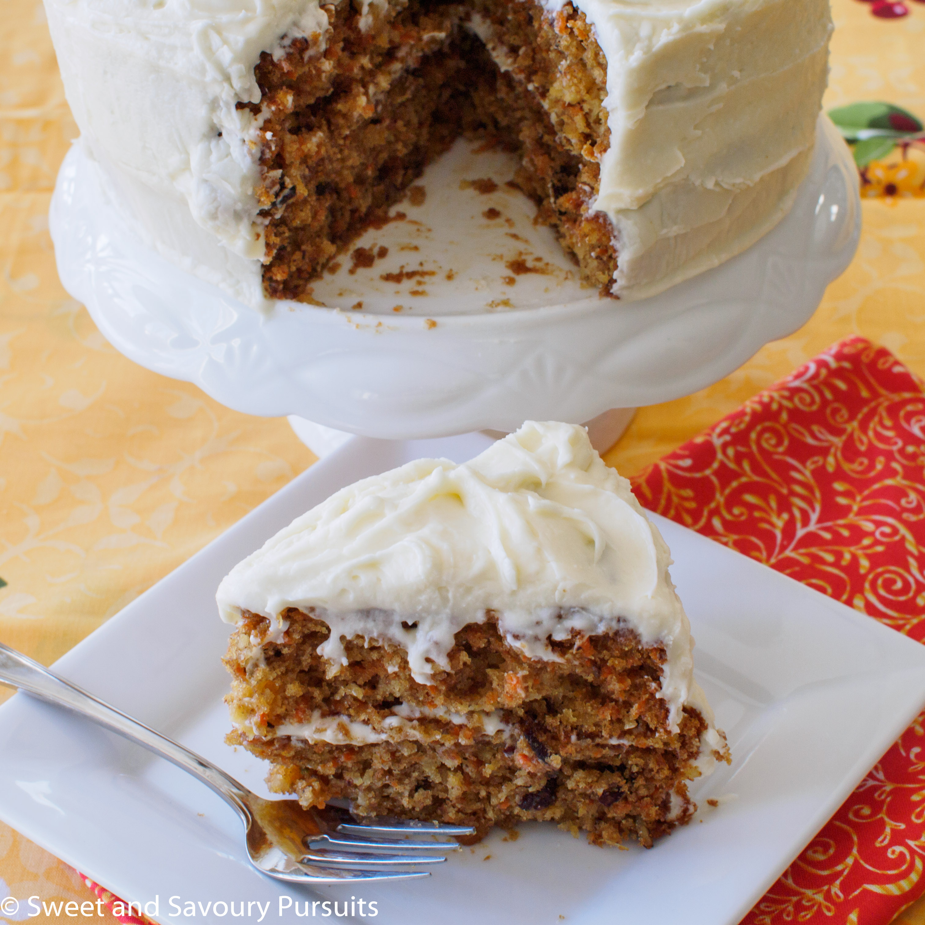 Carrot Cake with Cream Cheese Frosting - Sweet and Savoury Pursuits