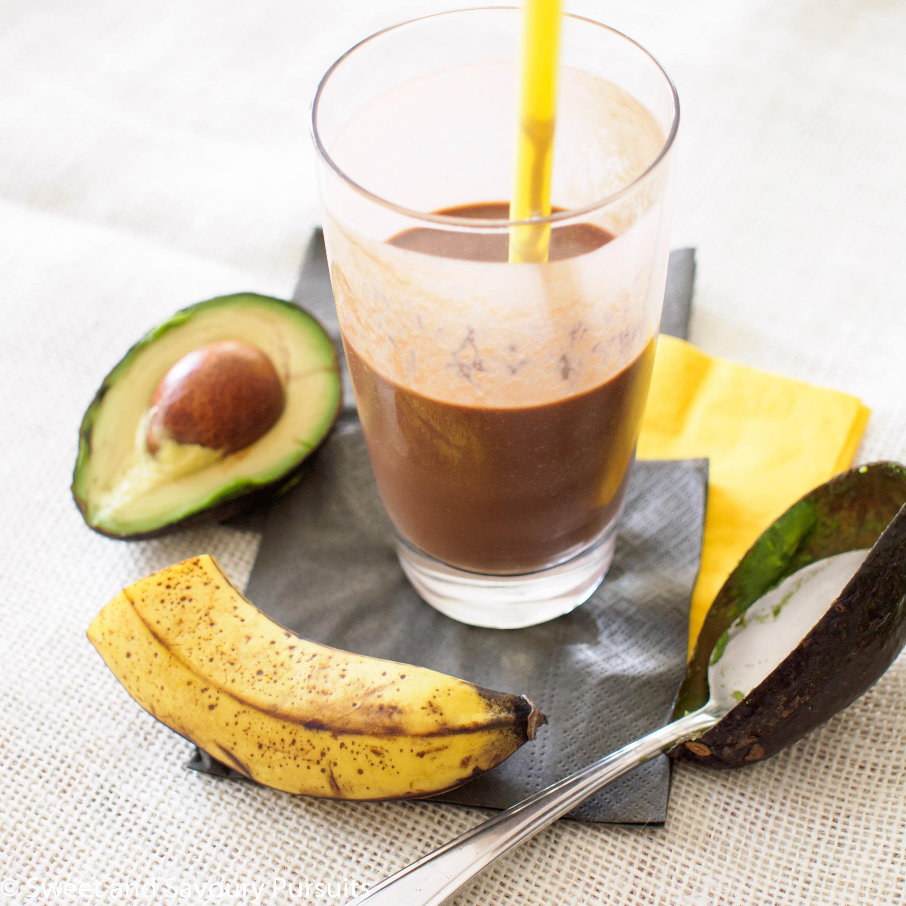 Avocado and Chocolate Smoothie in a tall glass.