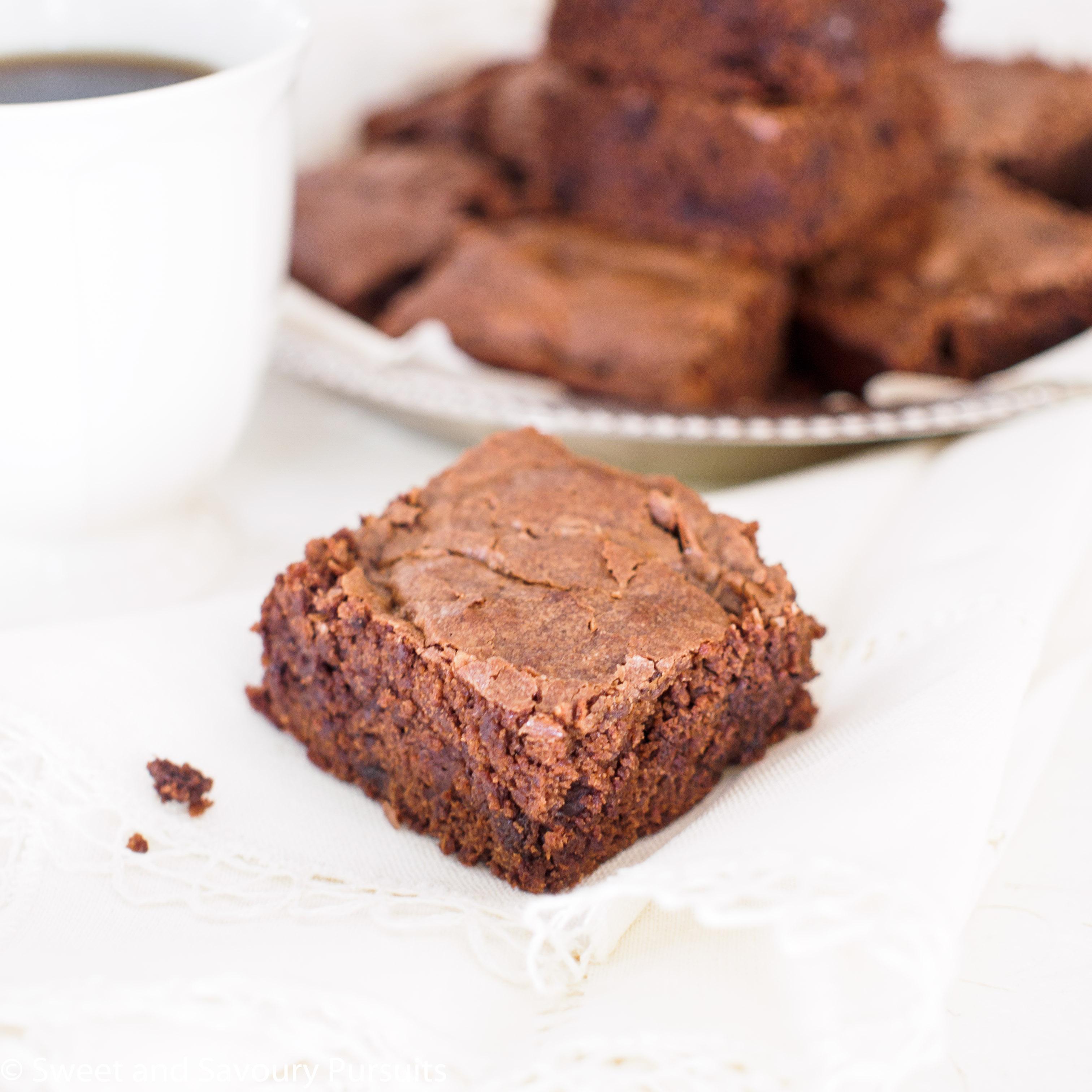 Brownies on dish.