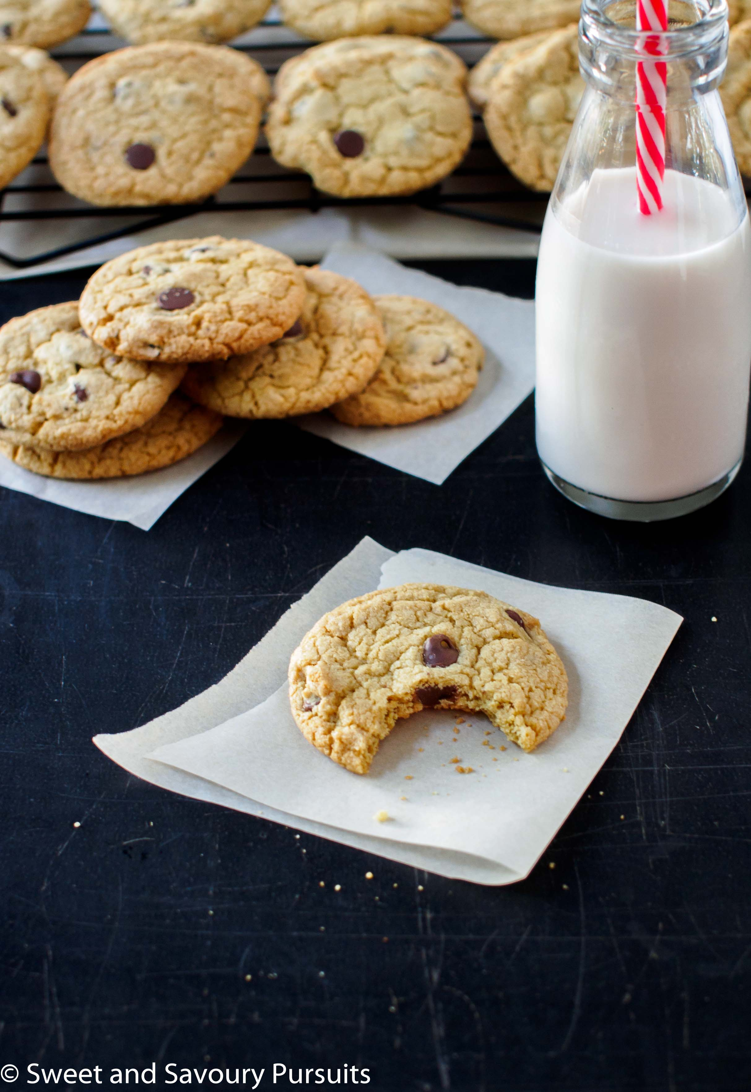Quinoa Chocolate Chip Cookies served with a small bottle of milk.