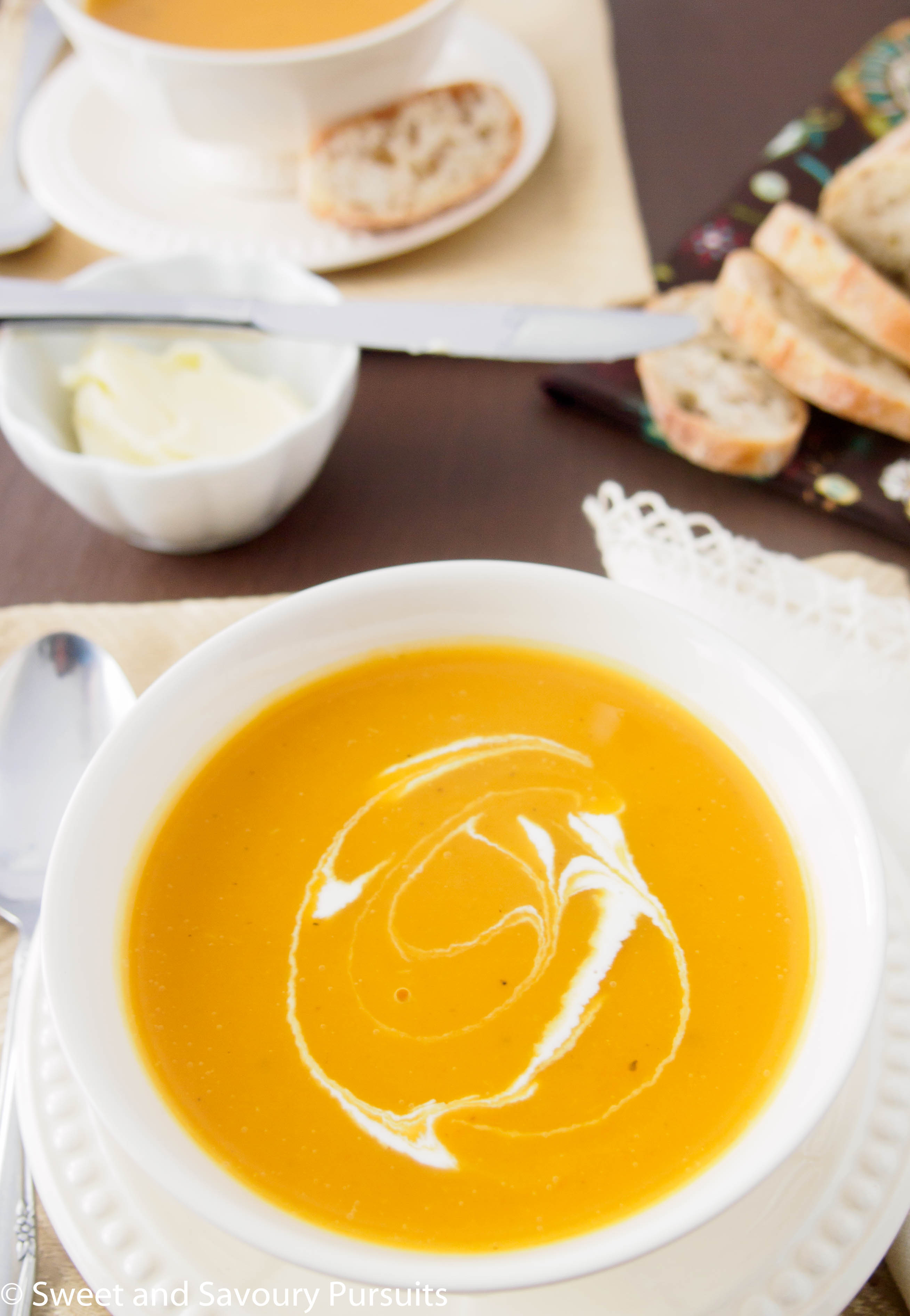 Roasted Butternut Squash and Pear Soup - Sweet and Savoury Pursuits