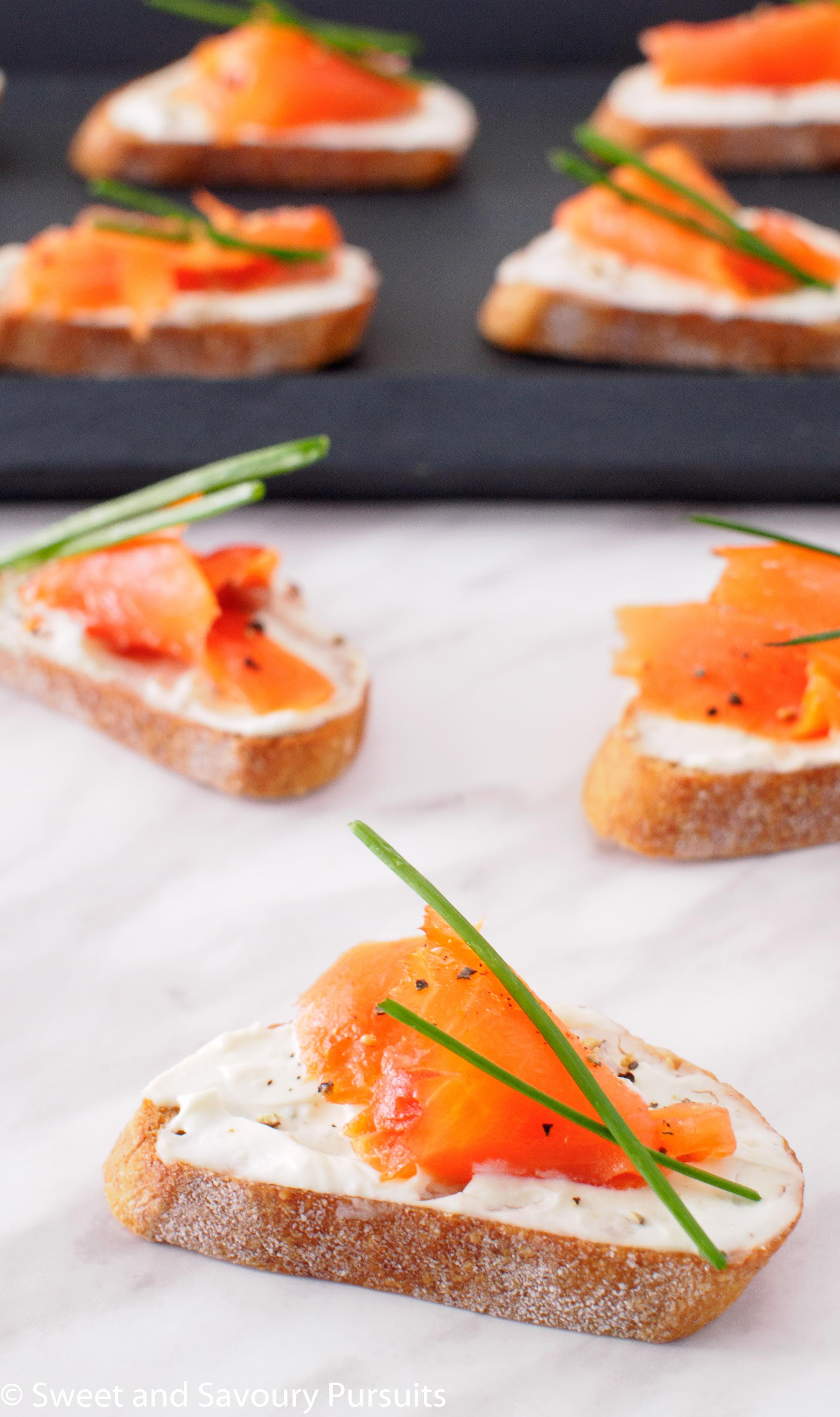 Smoked Salmon and Boursin Crostini - Sweet and Savoury Pursuits