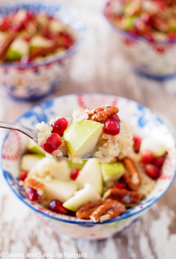 Close-up of a Pear, Pommegranate and Pecan Quinoa Breakfast Bowl