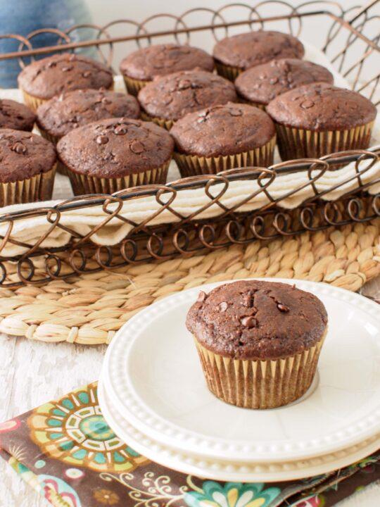 Whole Wheat Double Chocolate Zucchini Chai Muffins