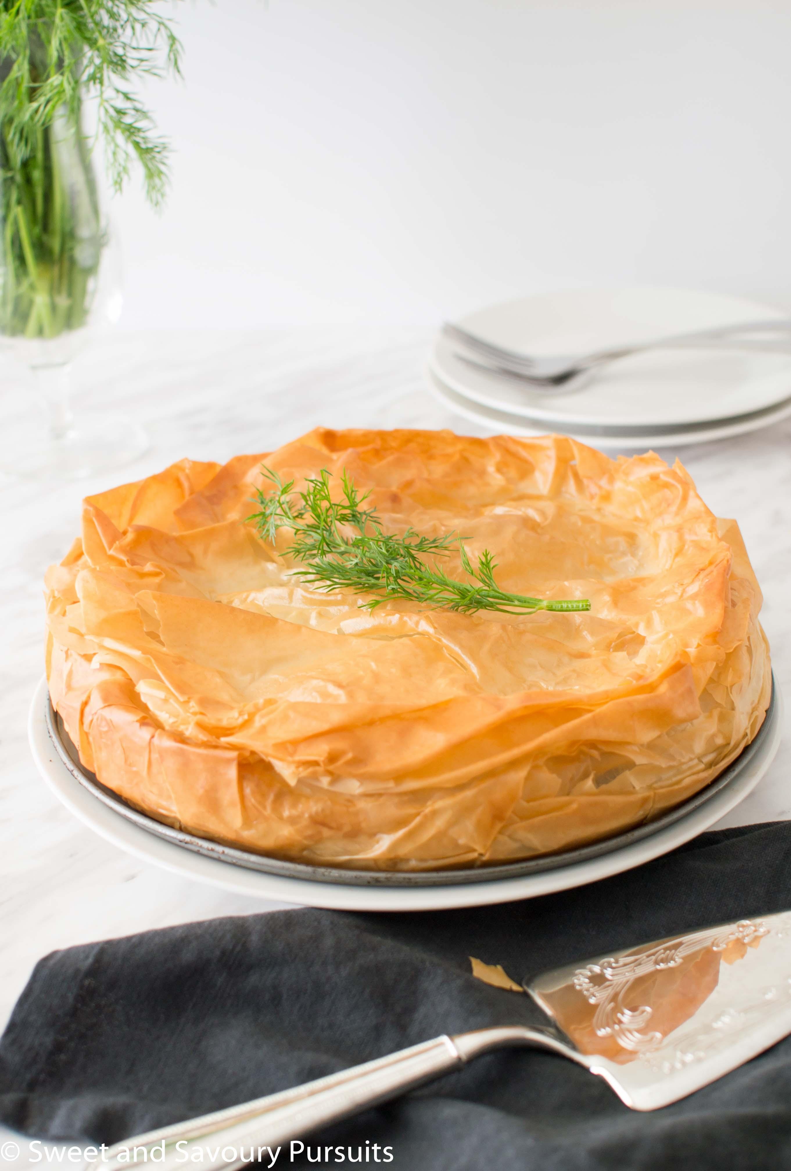 One Spanakopita Pie made with phyllo dough.