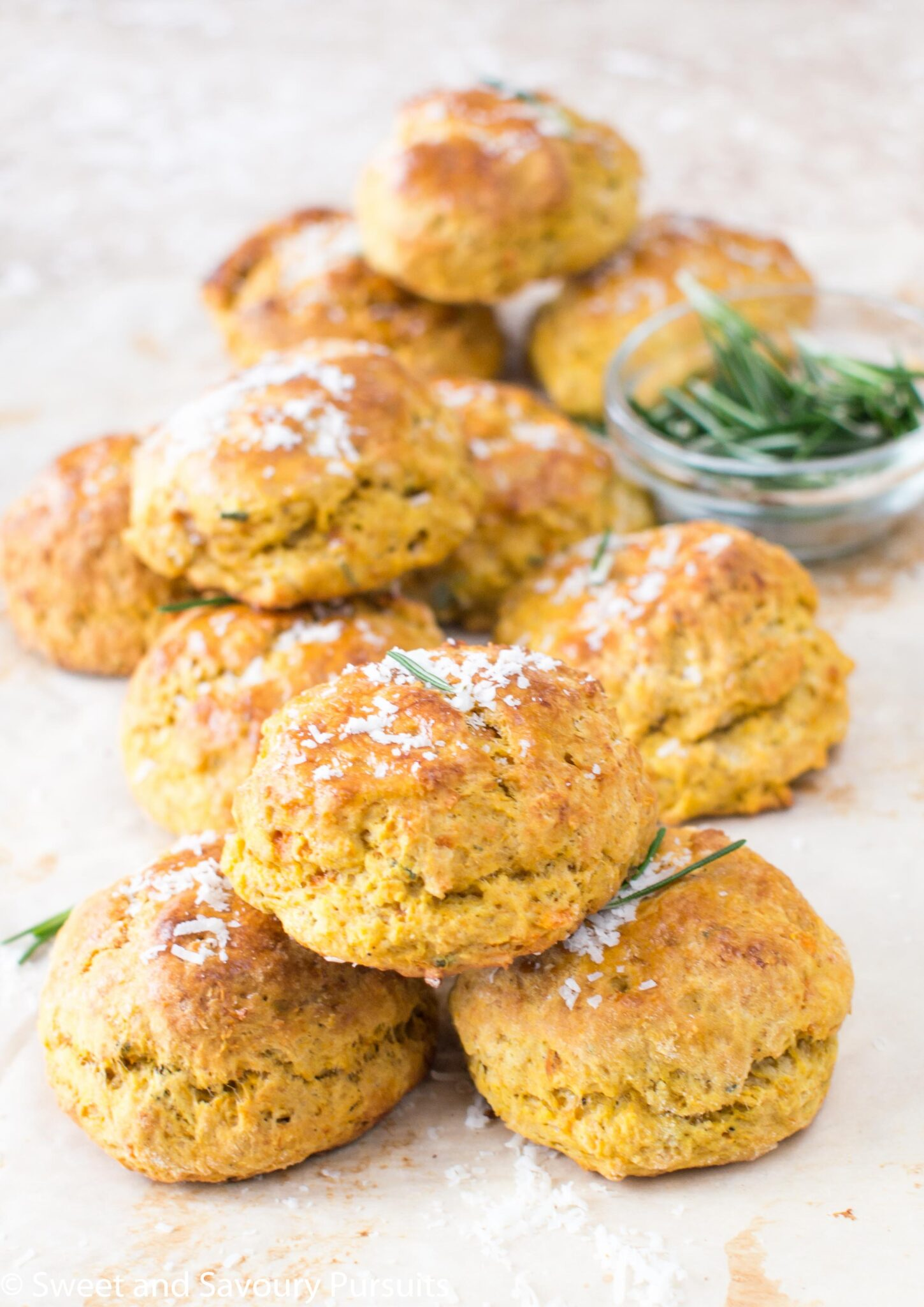 Freshly baked Sweet Potato, Parmesan and Rosemary Biscuits.