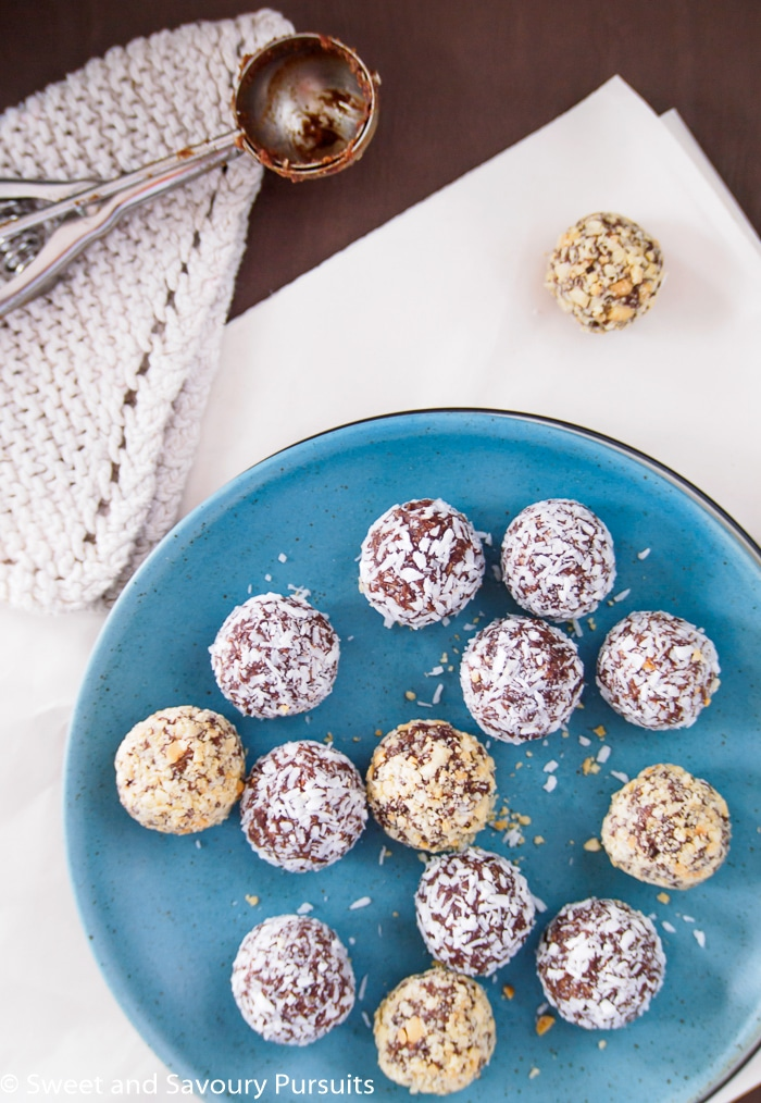 Top view of 5 Ingredient Date Energy Balls on plate.