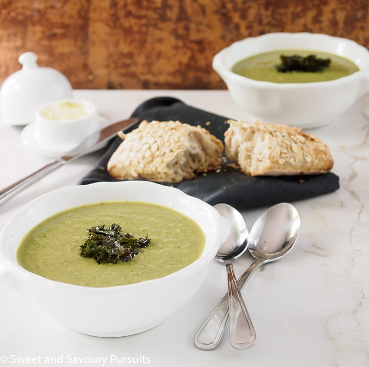 Bowls of Cauliflower, Kale and Leek Soup.