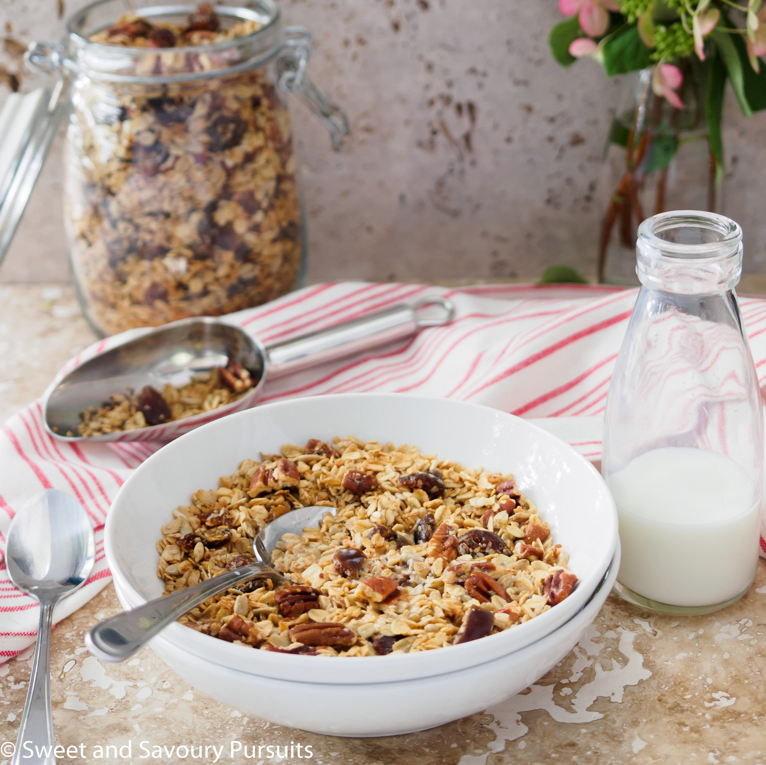 Bowl of Homemade Maple Pecan Granola with Dates.