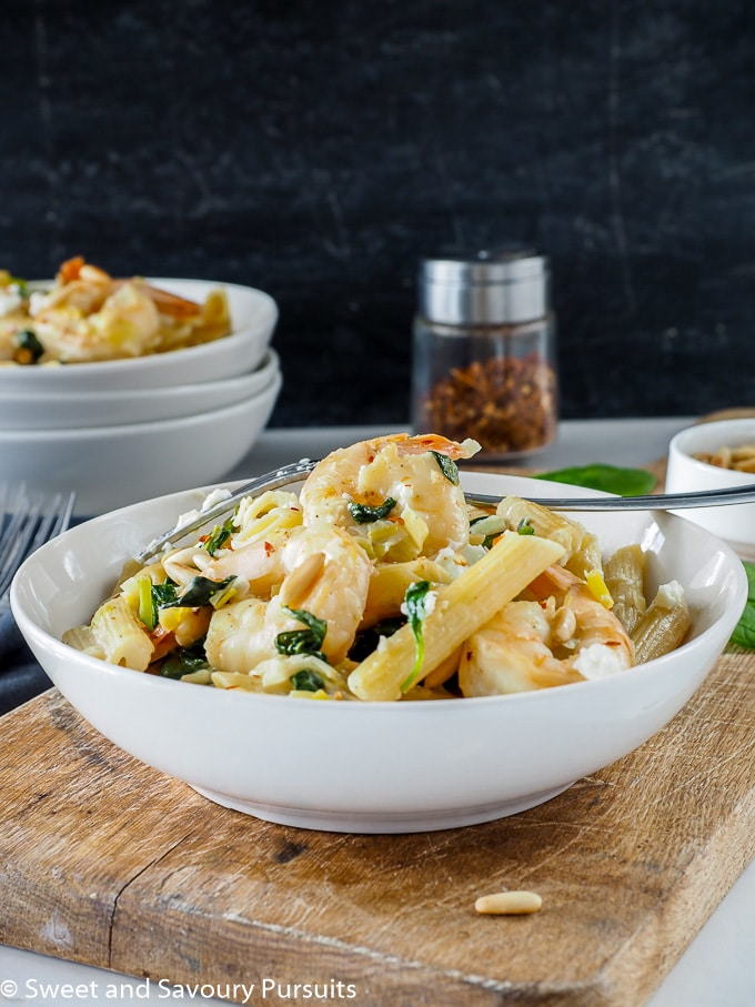 Bowl of Shrimp, Spinach and Goat Cheese Penne.