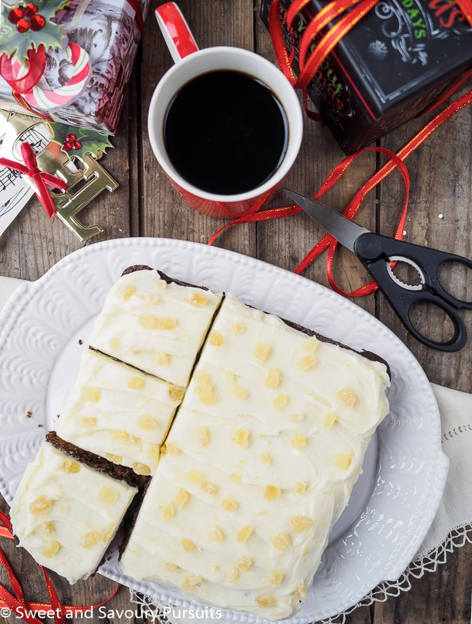Classic Gingerbread Cake with Cream Cheese Frosting.