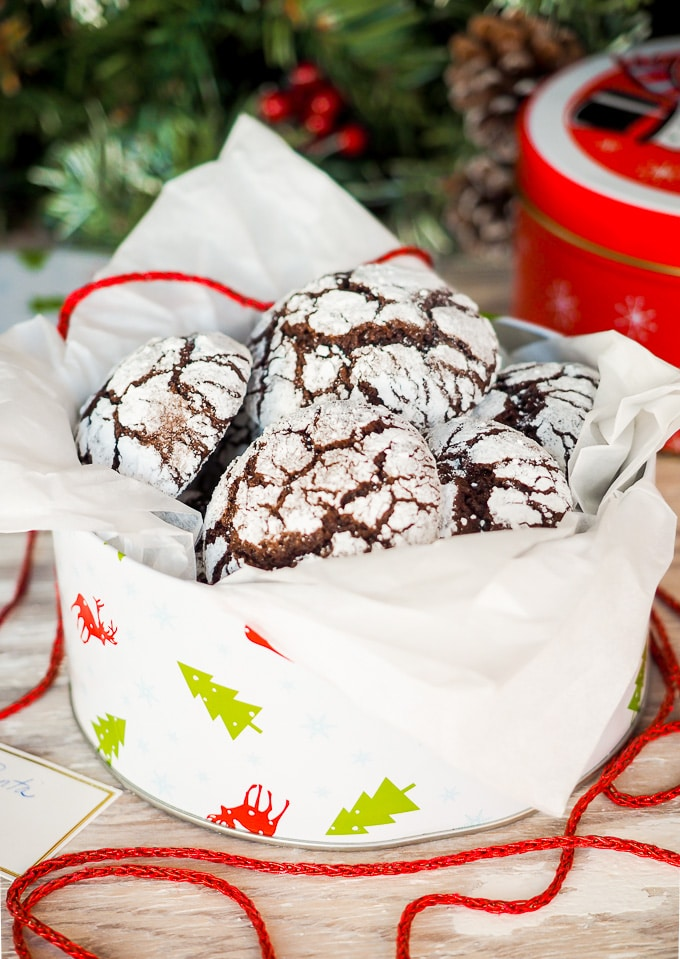 Chocolate Crinkle Cookies in cookie tin.