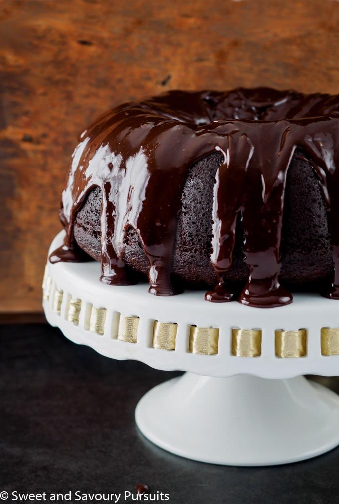 Chocolate Stout Bundt Cake with chocolate ganache.