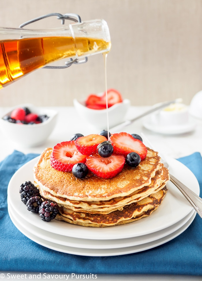 A plate of Whole Wheat Quinoa Flour Pancakes