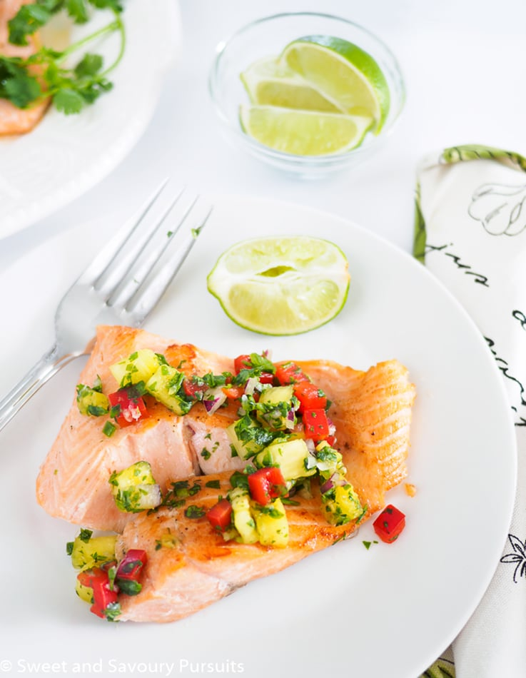 Pan fried rainbow trout served with pineapple salsa.