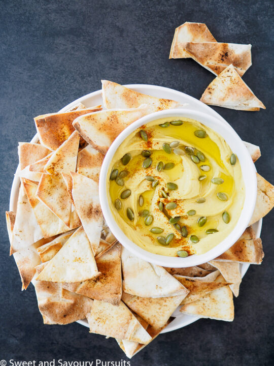 Butternut Squash and White bean Dip served with toasted pita chips.