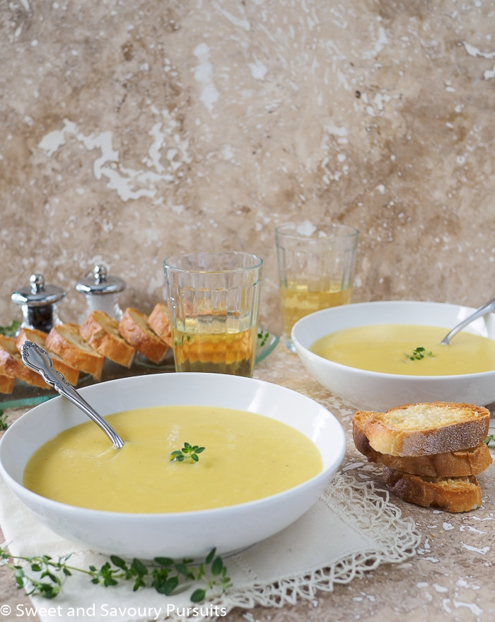 Creamy Leek and Potato Soup in bowl.