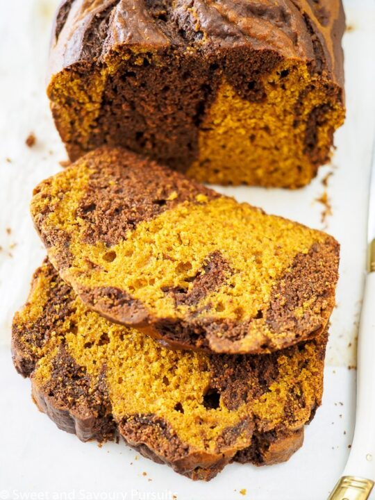 Chocolate and pumpkin marbled loaf.