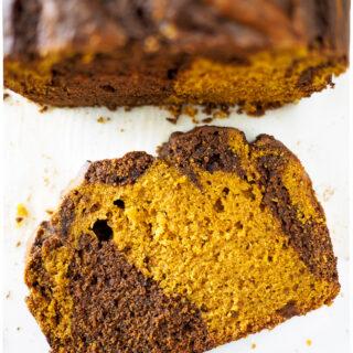 Slice of chocolate swirled pumpkin loaf