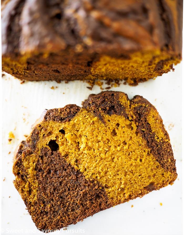 Chocolate and pumpkin swirled loaf.
