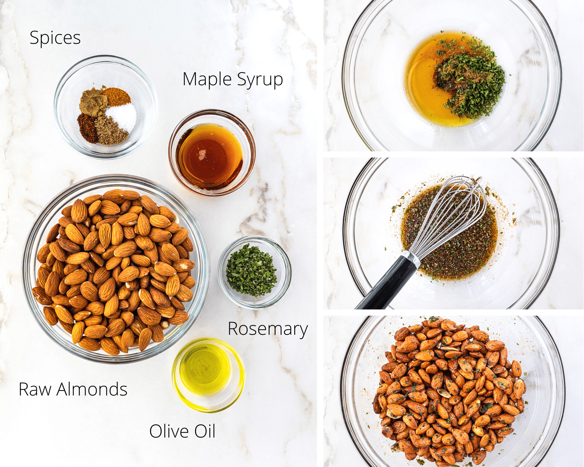 Collage depicting steps to making Rosemary Almonds.