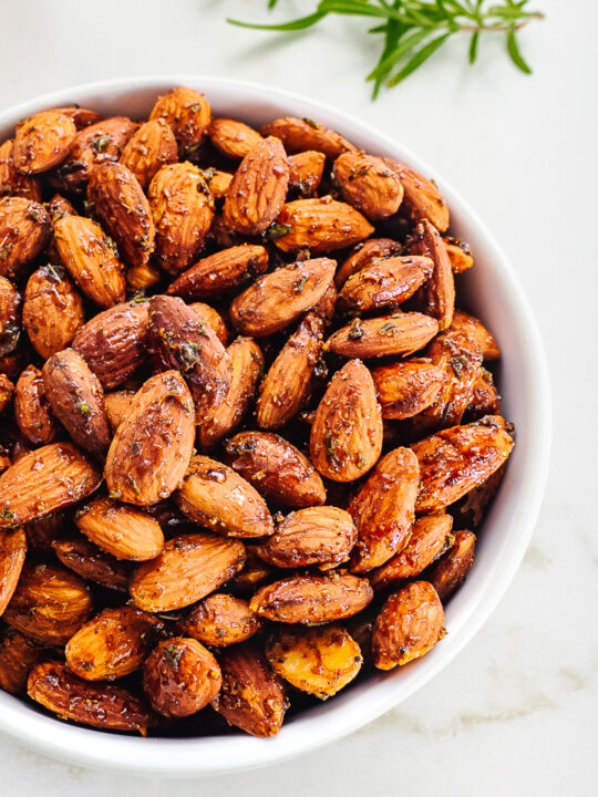 Bowl of Rosemary Roasted Almonds.