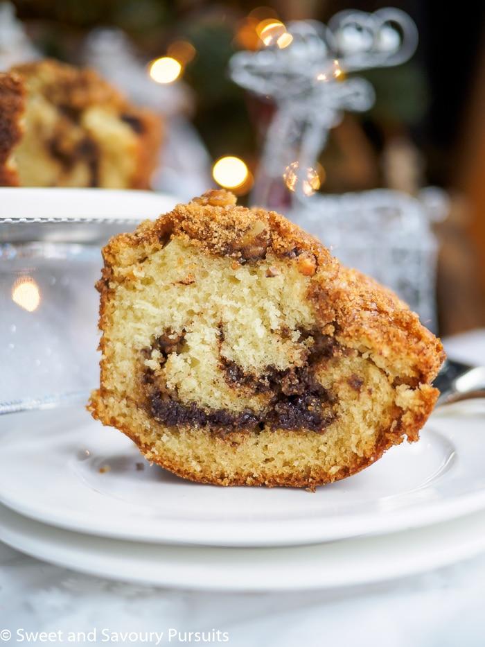 Upright slice of Cinnamon Bundt Cake.