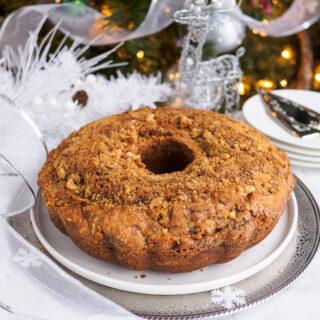 Chocolate Cinnamon Swirl Bundt Cake on platter.