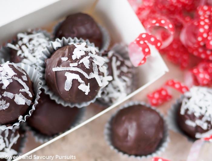 Box of Double Chocolate Coconut Almond Truffles.