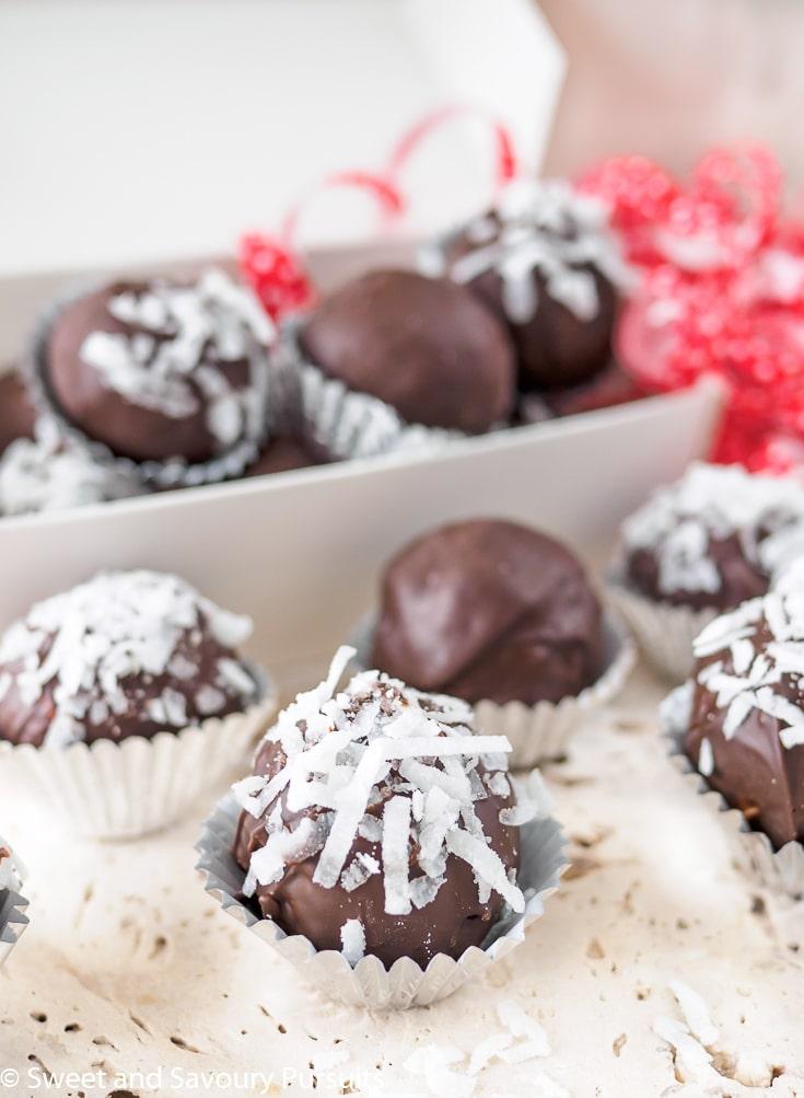 Box of Chocolate Coconut Almond Truffles.