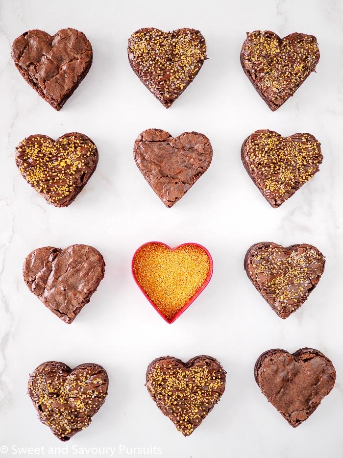 Heart shaped chocolate brownies.
