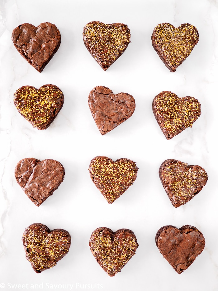 Top view of heart shaped brownies.