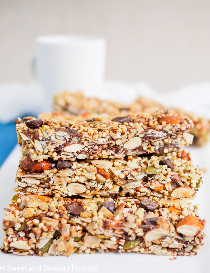 Side view of Homemade Coconut and Seed Bars.