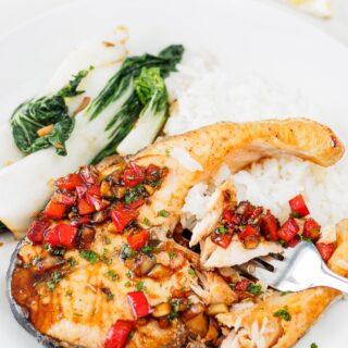 Plate of Thai Salmon with Cilantro-Chili Sauce.