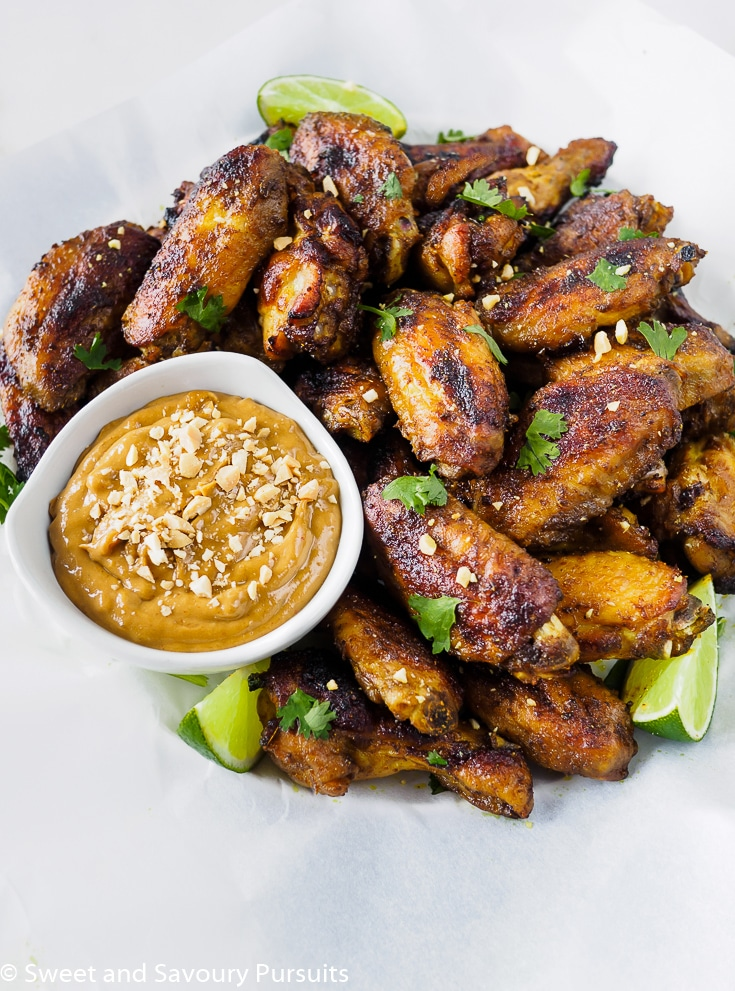 Baked Thai Chicken Wings with Peanut Sauce on the side.