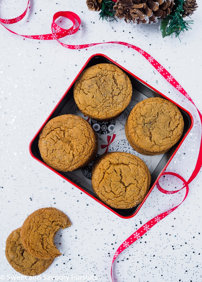 Chewy Ginger Cookies in gift box.