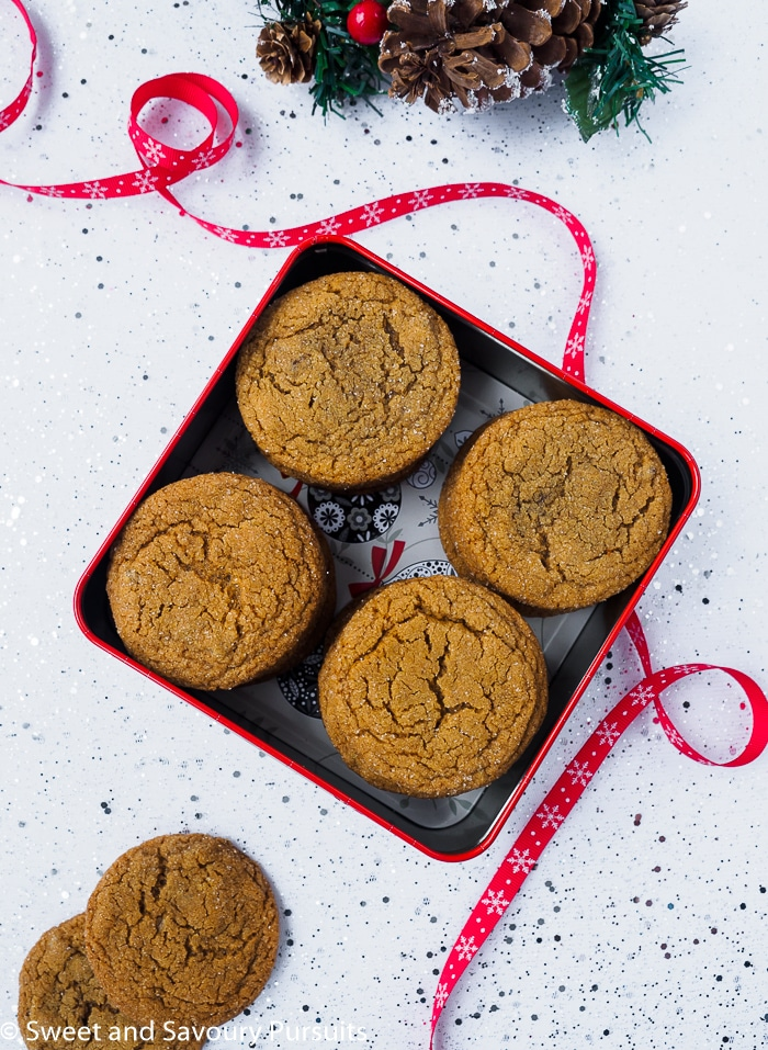 Chewy Ginger Cookies in cookie tin.