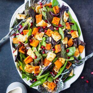 Roasted Sweet Potato Salad with Citrus Tahini Dressing