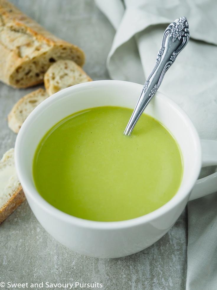Mug of creamy asparagus soup