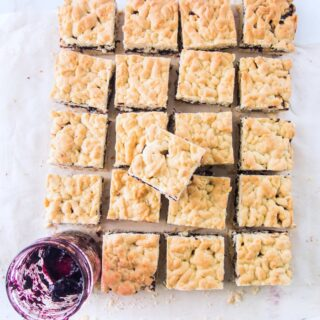 Bars with blueberry jam and hazelnuts