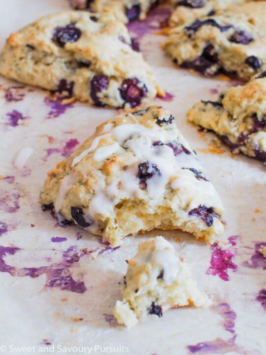 Fresh Blueberry and Lemon Scones on baking tray