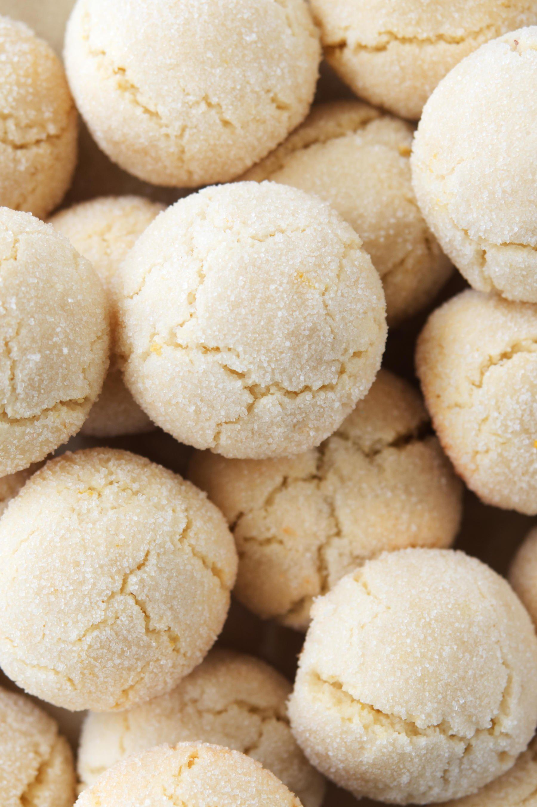 Close-up of a pile of Italian Amaretti Cookies