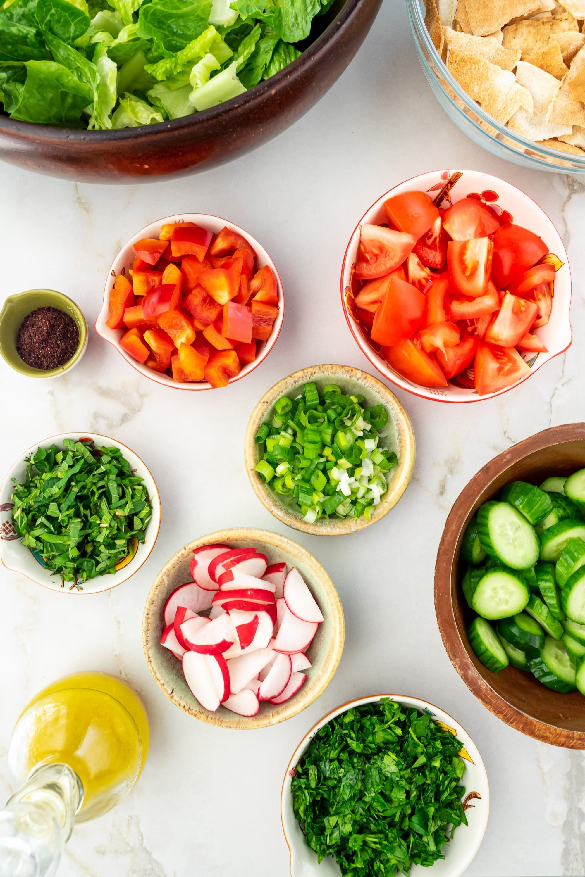 Ingredients for Fattoush salad.
