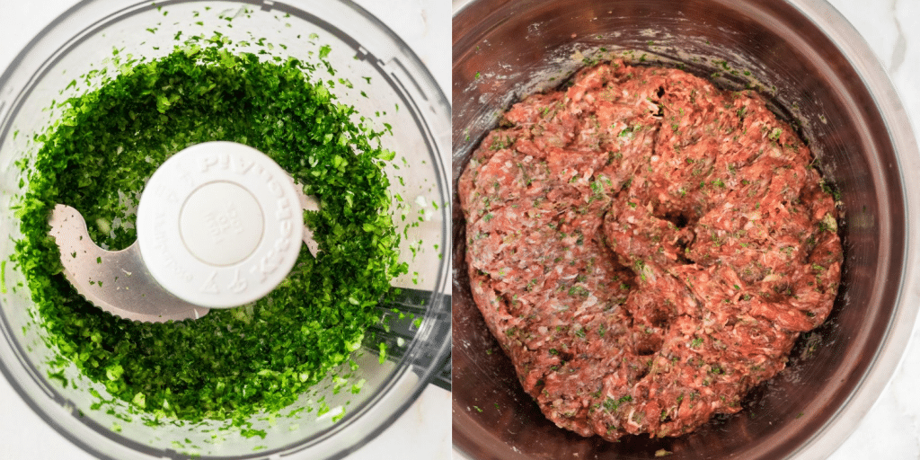 Collage of two pictures. The first one is picture of chopped parsley and onion in the food processor bowl. The second is a bowl of ground beef mixed with parsley, onion and spices.