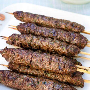 Grilled Kafta Kebabs on platter.